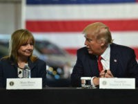 US President Donald Trump delivers remarks at American Center for Mobility in Ypsilanti, Michigan with General Motors CEO Mary Barra and other auto industry executives on March 15, 2017. / AFP PHOTO / Nicholas Kamm (Photo credit should read NICHOLAS KAMM/AFP/Getty Images)