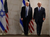 Israeli Prime Minister Benjamin Netanyahu and President Donald Trump arrive for a speech at the Israel Museum, Tuesday, May 23, 2017, in Jerusalem. (AP Photo/Evan Vucci)