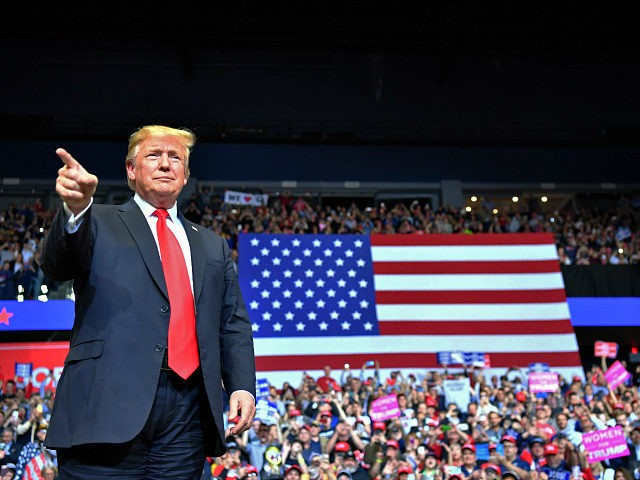 US President Donald Trump arrives for a campaign rally in Grand Rapids, Michigan on March 28, 2019. (Photo by Nicholas Kamm / AFP) (Photo credit should read NICHOLAS KAMM/AFP/Getty Images)
