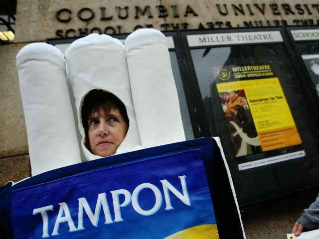 feminist dressed as tampon