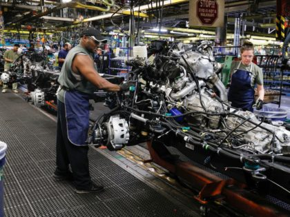 The assembly line at the General Motors Flint Assembly Plant where the new 2020 Chevy Silverado HD is being built is shown on February 5, 2019 in Flint, Michigan. On Monday, GM began laying off approximately 4,000 salaried white collar workers, bringing the number of GM layoffs since November 2018 …