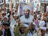 Supporters of hardline pro-Taliban party Jamiat Ulema-i-Islam-Nazaryati (JUI-N) shout anti-US slogans during a protest in Quetta on May 2, 2011 after the killing of Osama Bin Laden by US Special Forces in a ground operation in Pakistan's hill station of Abbottabad. Pakistan said that the killing of Osama bin Laden …