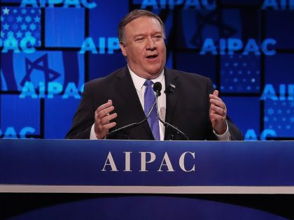 WASHINGTON, DC - MARCH 25: US Secretary of State Mike Pompeo speaks at the annual American Israel Public Affairs Committee (AIPAC) conference on March 25, 2019 in Washington, DC. Israeli Prime Minister Benjamin Netanyahu was scheduled to speak at the conference, but cut his U.S. trip short after a rocket …