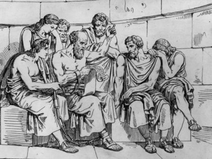 Circa 410 BC, The Greek philosopher Socrates (469 - 399 BC) teaches his doctrines to the young Athenians whilst awaiting his execution. Original Artwork: An engraving after a painting by Pinelli. (Photo by Hulton Archive/Getty Images)