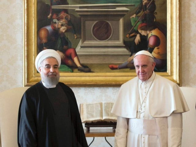 Pope Francis (R) and Iranian President Hassan Rouhani pose during their private audience on January 26, 2016, at the Vatican. Rouhani on January 26 described Iran as the safest and most stable country in the Middle East as he urged international investors to help modernise the country's sanctions-hit economy. On …