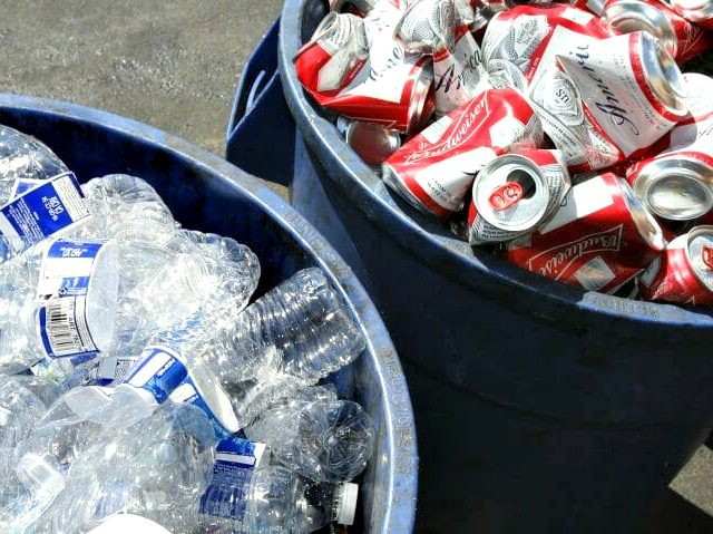 In this July 5, 2016, file photo, cans and plastic bottles brought in for recycling are seen at a recycling center in Sacramento, California. (Rich Pedroncielli / AP)