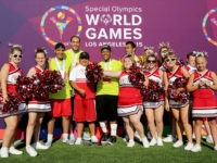 LOS ANGELES, CA - JULY 28: Starkey Hearing Foundation Ambassador Kyle Massey (C) and team Respect participate in The Special Olympics Unified Sports Experience Football Game at UCLA on July 28, 2015 in Los Angeles, California. (Photo by Rachel Murray/Getty Images for Starkey Hearing Foundation)