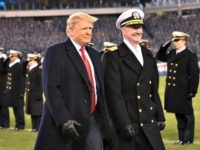 "President Donald Trump, seen with Naval Academy Superintendent Vice Adm. Ted Carter at the Army-Navy football game Saturday, suggested the new figure as a ""negotiating tactic,"" according to a source. 