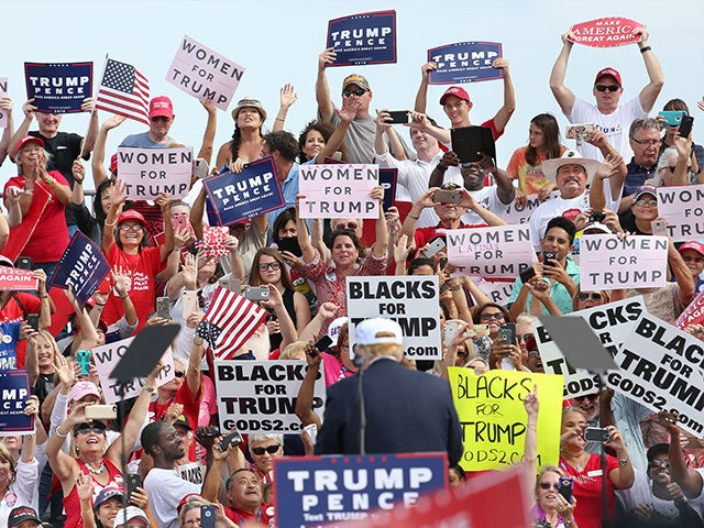 TOPSHOT - Republican presidential nominee Donald Trump is cheered on by supporters during a campaign stop inside a hangar at Lakeland Linder Regional Airport in Lakeland, Florida on October 12, 2016. / AFP / Gregg Newton (Photo credit should read GREGG NEWTON/AFP/Getty Images)