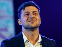 Ukrainian entertainer and presidential candidate Volodymyr Zelenskiy performs on stage in western Ukrainian city of Uzhhorod, on Feb. 9, 2019.