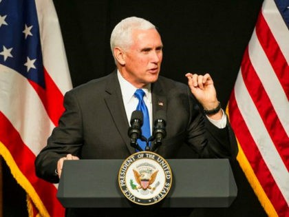 Vice President Mike Pence speaks to the 2019 Ohio Oil and Gas Association 72nd Annual Meeting, Friday, March 8, 2019 in Columbus, Ohio. (AP Photo/Phil Long)