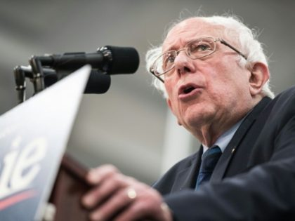 US presidential candidate Bernie Sanders, seen here on March 14, 2019, cut his head on a glass shower door and received seven stitches, but was given a clean bill of health and maintained his campaign schedule