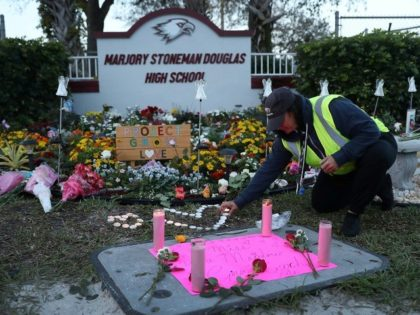 A memorial for the 14 students and three staff members killed on February 14, 2018 at Marjory Stoneman Douglas High School in Parkland, Florida