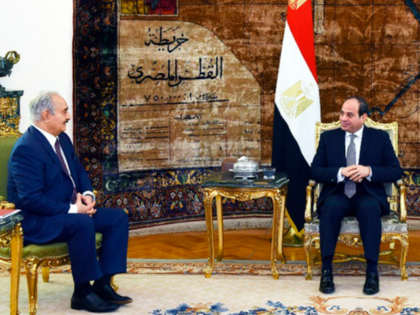 Egyptian President Abdel-Fattah El-Sissi, right, meets with the head of the self-styled Libyan National Army, Gen. Khalifa Haftar, in Cairo, Egypt, on April 14, 2019. (Egyptian Presidency Media office via AP)