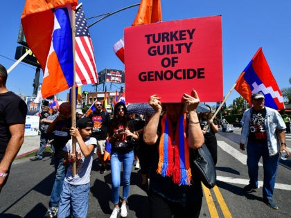Thousands of people of Armenian descent and their supporters march through Little Armenia neighborhood of Hollywood on April 24, 2019. - The march commemorates the 104th anniversary of the Armenian Genocide, again calling on Turkey, and the United States, to officially recognize the killings of 1.5 million Armenians by Turkey …
