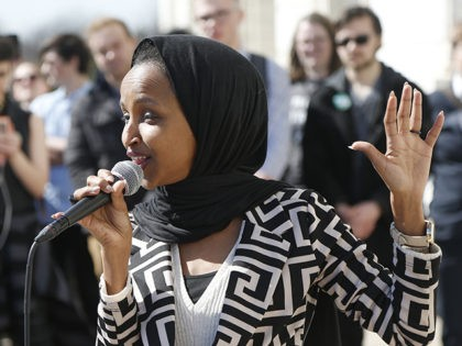 U.S. Rep Ilhan Omar, D-Minn., speaks to support LGBTQ and allied high school students from across the state of Minnesota who marched to the State Capitol steps Thursday, March 21, 2019 in St. Paul, Minn. to urge lawmakers to protect LGBTQ Minnesotans and youth from the effects of so-called conversion …