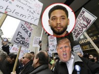 "Protestors protest Cook County State's Attorney Kim Foxx's office's decision to drop all charges against ""Empire"" actor Jussie Smollett, Monday, April 1, 2019, in Chicago. (AP Photo/Paul Beaty)"
