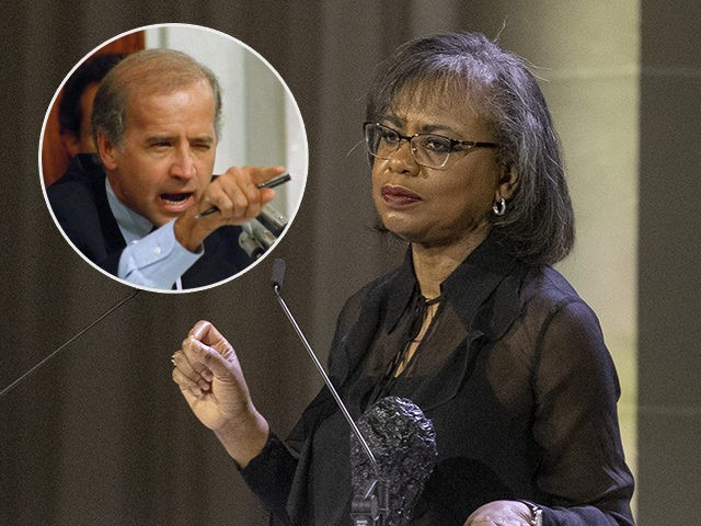 (INSET: Joe Biden at the Clarence Thomas confirmation hearings) Anita Hill appears onstage at the 10th annual DVF Awards at the Brooklyn Museum on Thursday, April 11, 2019, in New York. (Photo by Andy Kropa/Invision/AP)