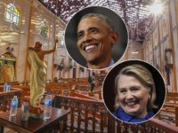 (INSETS: Barack Obama and Hillary Clinton) In this Sunday, April 21, 2019, a view of St. Sebastian's Church damaged in blast in Negombo, north of Colombo, Sri Lanka. Sri Lankan authorities blame seven suicide bombers of a domestic militant group for coordinated Easter bombings that ripped through Sri Lankan churches …