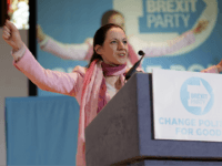 NOTTINGHAM, ENGLAND - APRIL 20: Annunziata Rees-Mogg, sister of Jacob Rees Mogg, a freelance journalist and candidate for the Brexit Party in the European Parliament elections, speaks at the Brexit Party rally at the Albert Hall conference centre on April 20, 2019 in Nottingham, England. Farage, the former leader of …