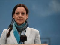 British journalist Annunziata Rees-Mogg speaks at the launch of The Brexit Party's European Parliament election campaign in Coventry, central England on April 12, 2019. - UK nationalist Nigel Farage launched his Brexit Party's campaign for the European Parliament elections -- a vote Britain was never meant to take part in …