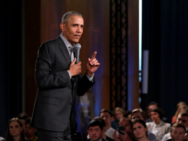 BERLIN, GERMANY - APRIL 06: Former U.S. President Barack Obama speaks to young leaders from across Europe in a Town Hall-styled session on April 06, 2019 in Berlin, Germany. Obama spoke to several hundred young people from European government, civil society and the private sector about the nitty gritty of …