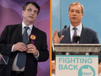 "(R) British MEP Nigel Farage speaks during the launch of the Brexit Party's European election campaign, Coventry, England, Friday, April 12, 2019. On Friday, Nigel Farage launched the campaign of his newly formed Brexit Party. The former U.K. Independence Party leader said delays to Brexit were ""a willful betrayal of …"