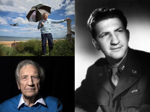 This combination of pictures shows a picture (Up-L) of French WWII veteran Bernard Dargols posing in Omaha beach on June 5, 2014, in Colleville-sur-Mer, Normandy, where he landed 70 years ago during the operation Overlord; a picture (Down-L) of Bernard Dargols posing in his home on May 12, 2014 in …
