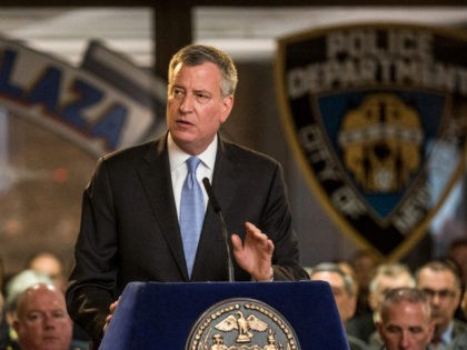 NEW YORK, NY - MAY 07: New York City Mayor Bill de Blasio speaks at a dedication to fallen police officers at New York Police Department (NYPD) Headquarters on May 7, 2015 in New York City. Eighteen deceased officer's names were added to the NYPD's Memorial Wall. (Photo by Andrew …