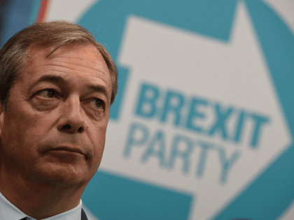 British politician and The Brexit Party leader, Nigel Farage attends the launch of The Brexit Party's European Parliament election campaign in Coventry, central England on April 12, 2019. - UK nationalist Nigel Farage launched his Brexit Party's campaign for the European Parliament elections -- a vote Britain was never meant …