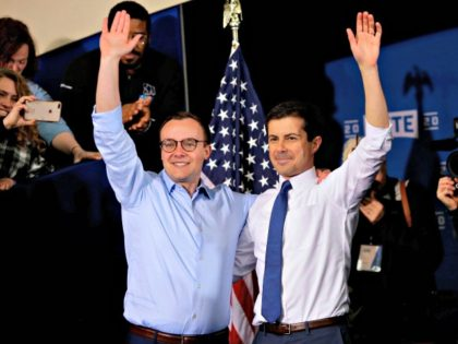 South Bend Mayor Pete Buttigieg with his husband Chasten Buttigieg in South Bend, Indiana, on April 14, 2019. (Photo: Joshua Lott/AFP/Getty Images)