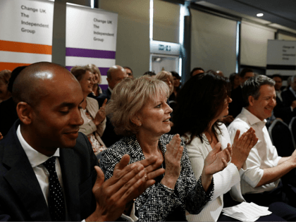 (L-R) Chuka Umunna, Anna Soubry and Heidi Allen of the new pro-EU political party, Change UK take part in the launch of its European election campaign in Bristol on April 23, 2019. (Photo by Adrian DENNIS / AFP) (Photo credit should read ADRIAN DENNIS/AFP/Getty Images)