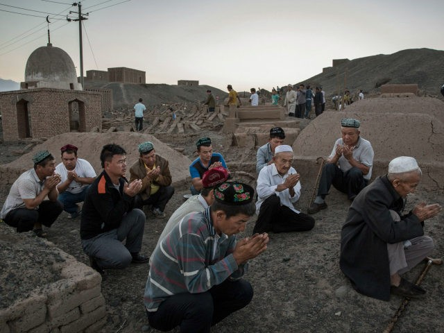 Uyghur men perform prayers for ancestors at a cemetery before the Corban Festival on September 11, 2016 in Turpan County, in the far western Xinjiang province, China. The Corban festival, known to Muslims worldwide as Eid al-Adha or 'feast of the sacrifice', is celebrated by ethnic Uyghurs across Xinjiang, the …