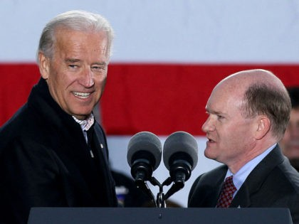 WILMINGTON, DE - NOVEMBER 01: U.S. Vice President Joseph Biden (L) and Senate Democratic candidate Chris Coons (R), participate in a rally on November 1, 2010 in Wilmington, Delaware. Democrats are making last minutes pushes for voter turnout in tomorrows election. (Photo by Mark Wilson/Getty Images)