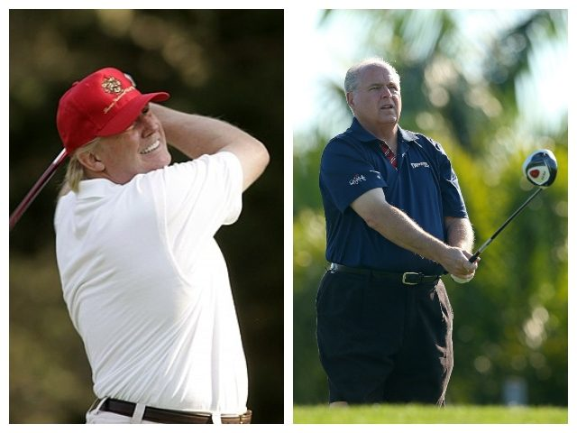 Collage of Donald Trump and Rush Limbaugh on golf course