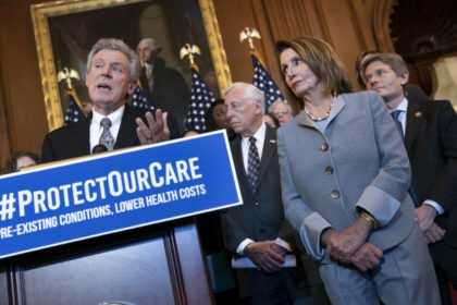 Speaker of the House Nancy Pelosi, D-Calif., joined at left by Energy and Commerce Committee Chair Frank Pallone, D-N.J., leads an event to announce legislation to lower health care costs and protect people with pre-existing medical conditions, at the Capitol in Washington, Tuesday, March 26, 2019. The Democratic action comes …