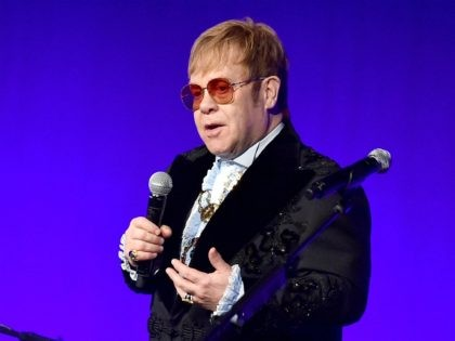 NEW YORK, NY - NOVEMBER 05: Elton John speaks onstage during the Elton John AIDS Foundation's 17th Annual An Enduring Vision Benefit at Cipriani 42nd Street on November 5, 2018 in New York City. (Photo by Theo Wargo/Getty Images)
