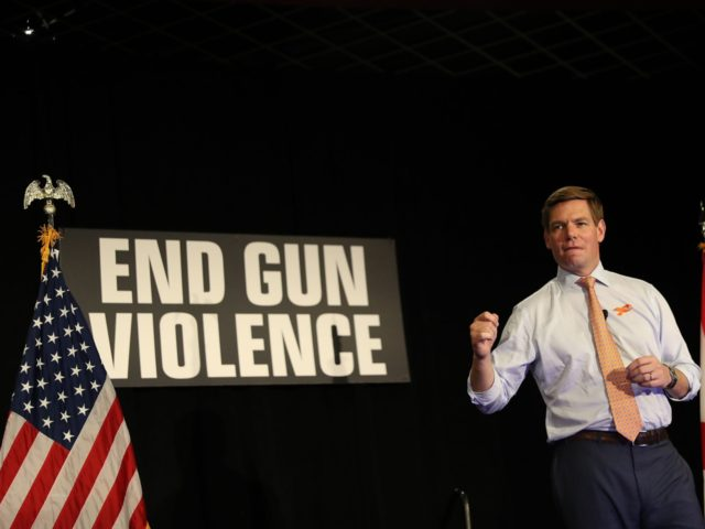 SUNRISE, FLORIDA - APRIL 09: Rep. Eric Swalwell (D-CA), who announced that he is running for president in 2020, speaks during town hall on gun violence at the BB&T Center on April 09, 2019 in Sunrise, Florida. Rep. Swalwell held the town hall not far from Marjory Stoneman Douglas high …