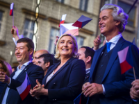 PRAGUE, CZECH REPUBLIC - APRIL 25: Leader of French National Rally party (RN) Marine Le Pen (C), leader of Czech Freedom and Direct Democracy party (SPD) Tomio Okamura (L) and leader of Dutch Party for Freedom (PVV) Geert Wilders (R) during a meeting of populist far-right party leaders in Wenceslas …