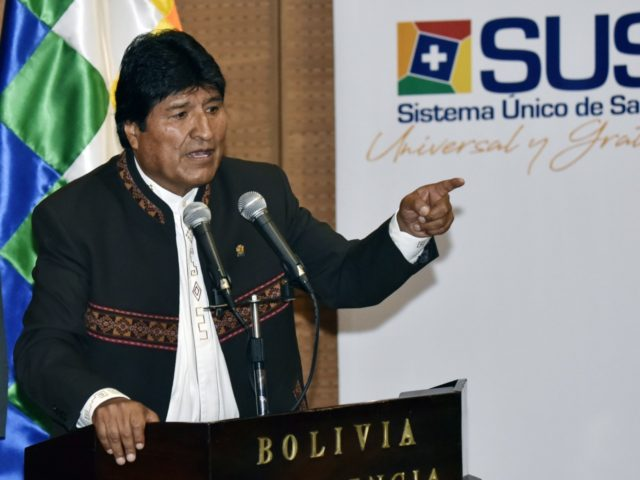 Bolivia's President Evo Morales Ayma delivers a speech during the enactment of a law that grants universal and free health insurance, at the government palace in La Paz on February 20, 2019. (Photo by AIZAR RALDES / AFP) (Photo credit should read AIZAR RALDES/AFP/Getty Images)