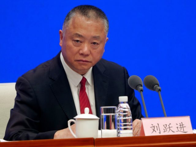 Liu Yuejin, vice commissioner of the National Narcotics Control Commission, speaks during a press conference in Beijing on Monday, April 1, 2019. China announced Monday that all fentanyl-related drugs, as a group, would become controlled substances, effective May 1, a step U.S. officials have long advocated as a way to …