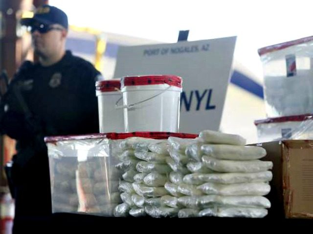 This Jan. 31, 2019 file photo shows a display of fentanyl and meth that was seized by Customs and Border Protection officers over the weekend at the Nogales Port of Entry at a press conference in Nogales, Ariz. Law enforcement officers in the U.S. Southwest say they have also seen …