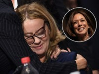 (INSET: Kamala Harris) WASHINGTON, DC - SEPTEMBER 27: Christine Blasey Ford is comforted by her attorneys after testifying before the US Senate Judiciary Committee in the Dirksen Senate Office Building on Capitol Hill September 27, 2018 in Washington, DC. A professor at Palo Alto University and a research psychologist at …