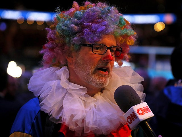 ATLANTA, GEORGIA - JANUARY 28: A member of the media answers questions from CNN during Super Bowl LIII Opening Night at State Farm Arena on January 28, 2019 in Atlanta, Georgia. (Photo by Kevin C. Cox/Getty Images)
