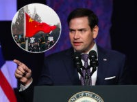 (INSET: Chinese soldiers raising flag) DORAL, FLORIDA - FEBRUARY 01: Sen. Marco Rubio (R-FL) speaks before Vice President Mike Pence takes to the podium at Iglesia Doral Jesus Worship Center after meeting with Venezuelan exiles and community leaders on February 01, 2019 in Doral, Florida. Sen. Rubio and Vice President …