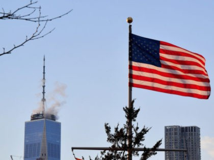 One World Trade Center and the American Flag are seen from Brooklyn Bridge Park on March 7, 2019 in New York City. (Photo by Angela Weiss / AFP) (Photo credit should read ANGELA WEISS/AFP/Getty Images)