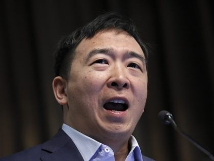 NEW YORK, NY - APRIL 3: Entrepreneur and Democratic presidential candidate Andrew Yang speaks at the National Action Network's annual convention, April 3, 2019 in New York City. A dozen 2020 Democratic presidential candidates will speak at the organization's convention this week. Founded by Rev. Al Sharpton in 1991, the …
