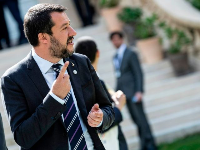 Italys Interior Minister and Deputy Prime Minister Matteo Salvini reacts before a group photo at the French Ministry of Interior in Paris on April 4, 2019, during an Interior ministers' meeting to prepare an upcoming G7 Summit. - The G7 Summit will be held in Biarritz from August 25 to …