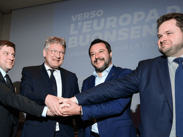 (From L) Member of the Finnish conservative political Finns party, Olli Kotro, Federal spokesman for Alternative for Germany (AfD), Germany's Joerg Meuthen, Italys Interior Minister, deputy PM and Federal Secretary of Italy's Northern League (Lega Nord) right-wing regionalist political party, Matteo Salvini and member of the Danish People's Party, Anders …