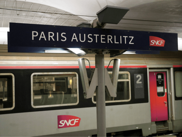A train is stopped at a platform of the Gare d'Austerlitz in Paris on April 9, 2019. (Photo by Geoffroy VAN DER HASSELT / AFP) (Photo credit should read GEOFFROY VAN DER HASSELT/AFP/Getty Images)